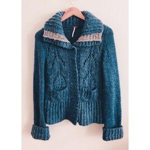 Free People/ Women's Cozy Wool Cardigan Blue Small